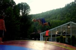 A boy does a flip