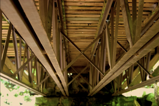 The bottom of a support bridge